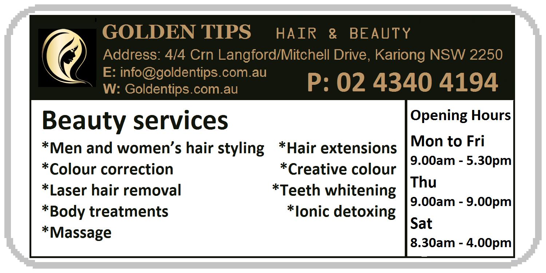 Golden tips hair & beauty