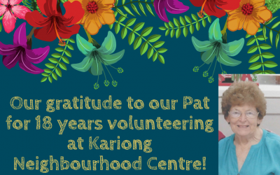Thank you to our lovely Volunteer Pat!