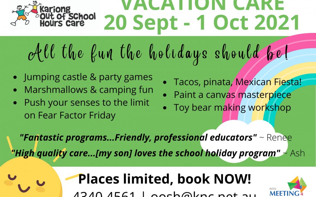 Sept-Oct 2021 Vacation Care & School Holiday Program